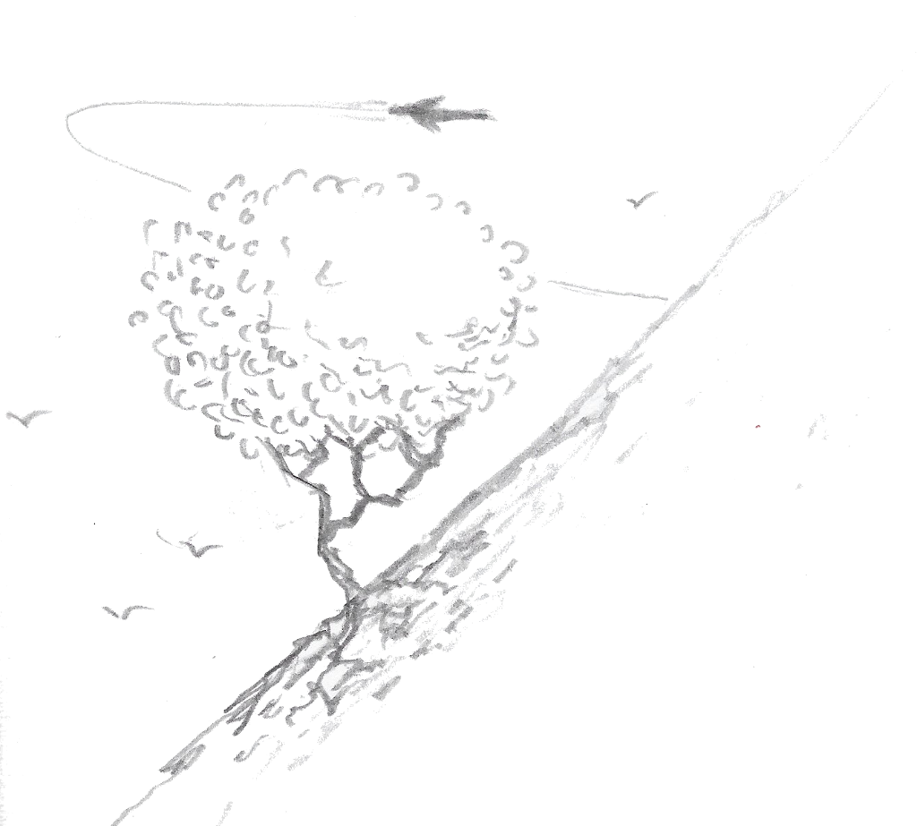 Hillside, tree, and spacecraft
