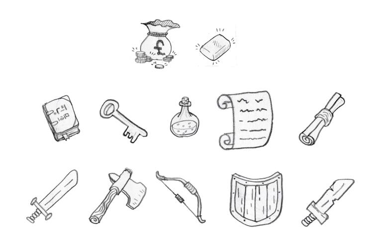 Doodle Rogue item sketches