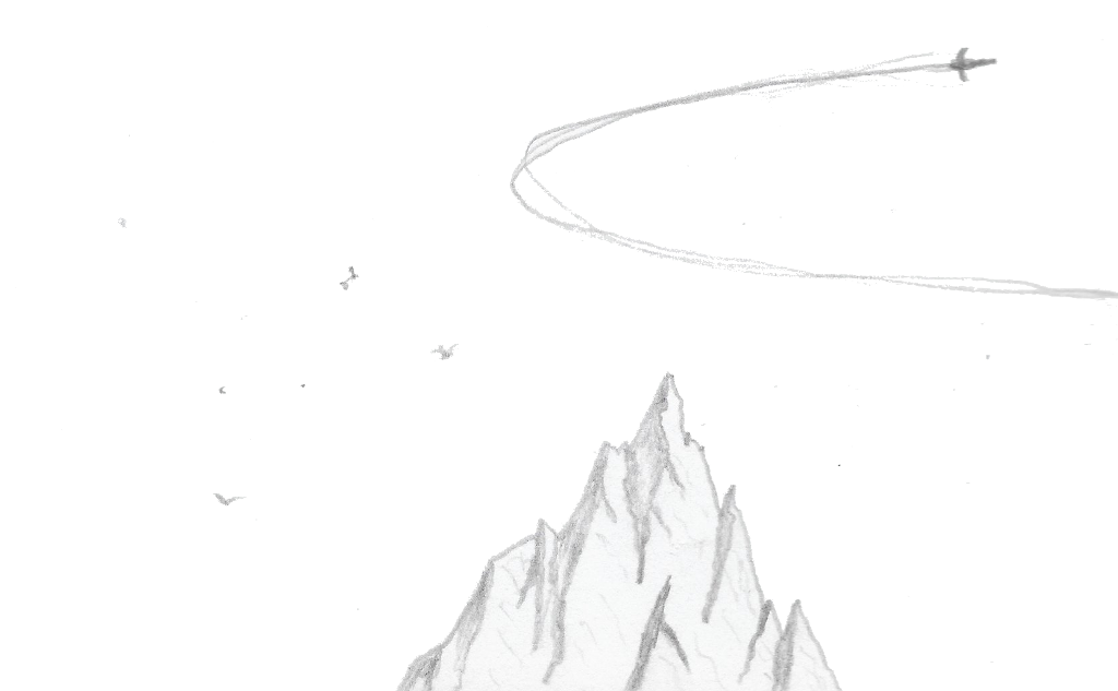 Mountain with space ship